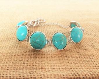 Turquoise Bracelet, Boho Bracelet, Bohemian Jewelry