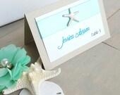 25 Aqua Starfish Table Cards, Starfish Wedding, Escort Cards, Beach Wedding, 25 Table Cards