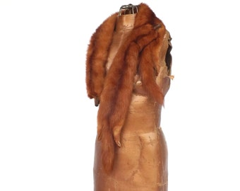 Vintage 1940s 50s Richland Furs Red Sable Mink Pelts Fur Wrap Shawl Scarf Boa Collar Glass Eyes Stole Fur Scarf Fall Flapper Great Gatsby