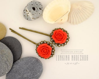 Scarlet rose flower polymer clay bobby pins for red wedding bridesmaid gift