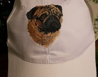 Embroidered pug baseball caps