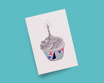 Birthday Card A6 4x6 'Cupcake' Line Illustration with Hand-drawn Metallic Silver Ink and Colourful Triangle Stickers