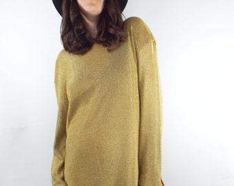 Dancing Queen Vintage Metallic Gold Knit Shirtdress