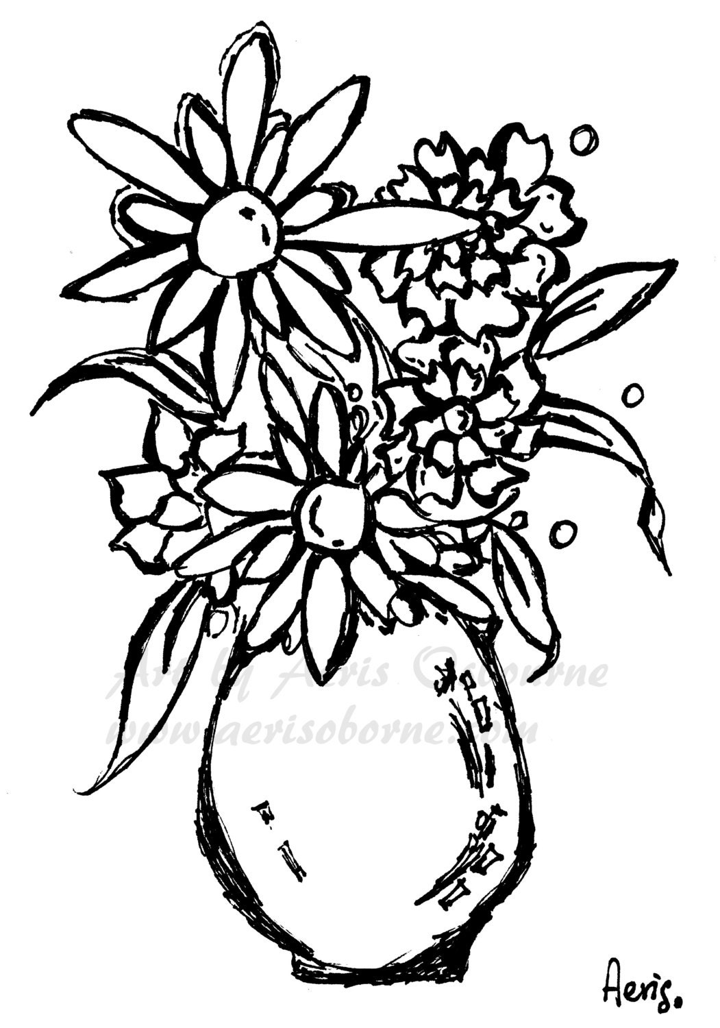 vases with flowers coloring pages - photo#14