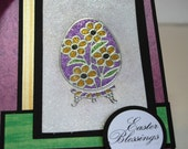 Easter Blessings - Handmade Greeting Card - Micro Fine Glitter on Elizabeth Craft Designs in Purple, Green and Gold