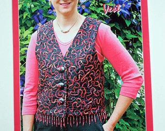 Quilted Vest Pattern to make the Celebrations Vest by The Quilted Closet #405 in 5 Sizes, Quiltsy Destash Party