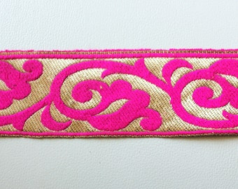 Fuchsia Pink And Bronze Embroidery Lace Trim, Approx. 60mm Wide - 140316L24
