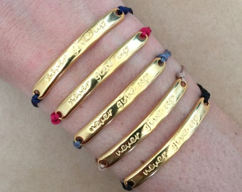 Gold Plated Never Give Up Motivational Message Bar Bracelet - Friendship, Strength, Macrame Bracelet, Adjustable Bracelet