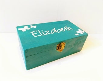 Personalised wooden butterfly box - Aqua Blue box - Personalised box - Keepsake box - Memory Box - Large Box - Storage Box - Gift Box