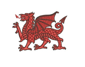 Machine Embroidery Design Instant Download - Heraldic Welsh Dragon Passant