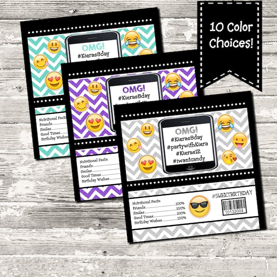 Emoji Party Printable Candy Bar Label