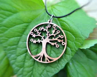 Tree of Life Pendant in cherry on leather cord, nature jewelry, yoga, judaica, made natural, choker, wood neckace, bamboo pendant, natural