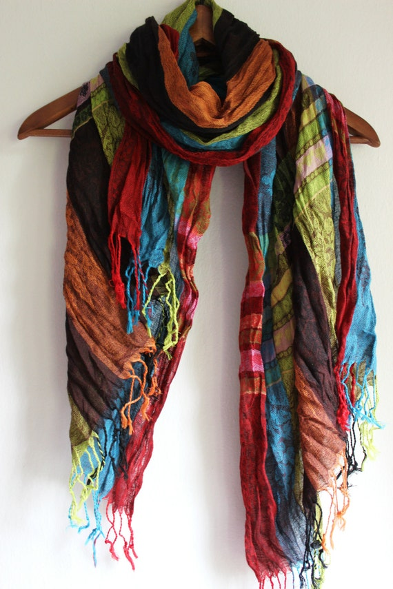 scarf ethnic scarves linen mens gift by