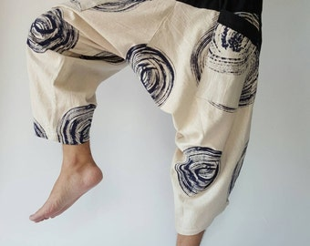 HC0023 Black and White men pants Handmade pants, Thick Smock Waist Low Crotch, unisex Yoga Harem Pants  - elastic waistband  - Fits all !