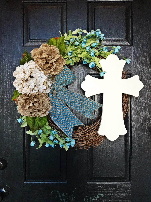 Easter Cross Wreath Christian Wreath Spring Wildflower