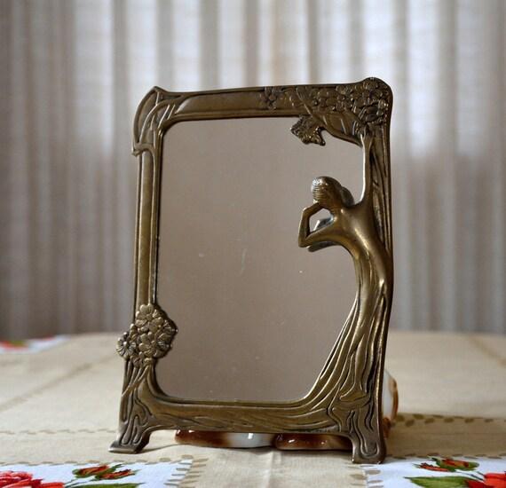 Bathroom Art Nouveau: Art Nouveau Brass Lady Mirror Gazing Lady Mirror With Floral