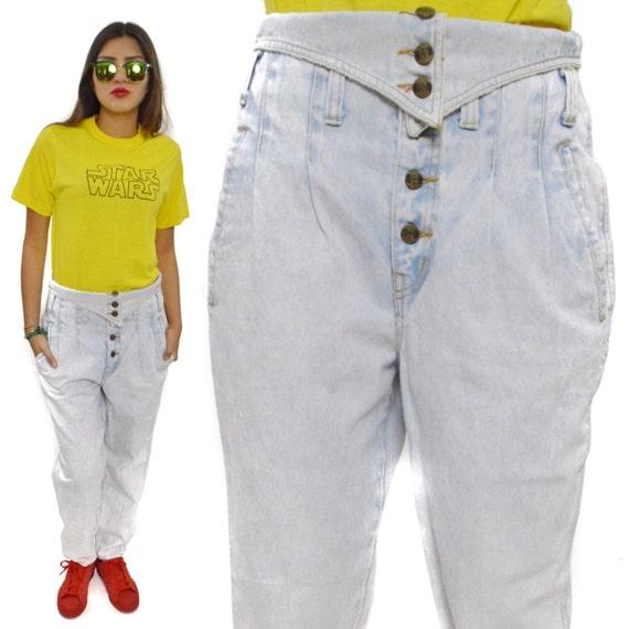 Vintage 80s EXP Campaigne Internationale Limited Express Acid Wash High Waisted Jeans