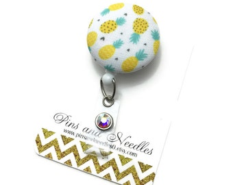 Summer ID Badge Reel - ID Badge Holder - Retractable Badge Reel - Badge Reels - Summer Fruit ID Badge Reel- Nurse Gift - Pineapple Id Badge