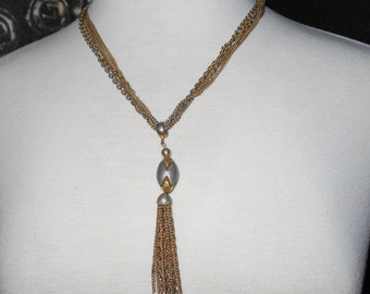 Vintage necklace chain tassel charm 1950s multichains jewelry from Estate Sale