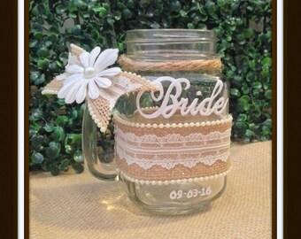 Bride Mason Jar, Country Wedding, Burlap Wedding Glasses, Glasses for Wedding, Wedding Mugs, Bride and Groom Country Wedding