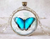 MORPHO BUTTERFLY PENDANT Blue Butterfly Necklace Butterfly Jewerly Blue White Insect Jewelry Butterfly Lover Gift