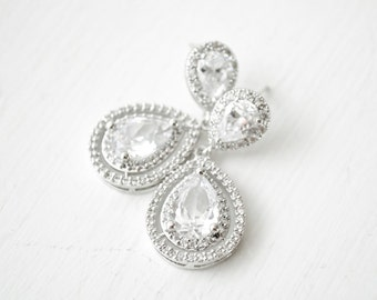 Statement Bridal Earrings, Wedding Earrings, CZ Earrings, Wedding Jewellery