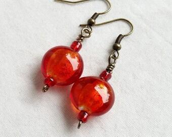 Brass and Glass, Red Earrings, Red Dangle Earrings, Cherry Red Earrings, Lampwork Glass, Boho Chic Jewelry, Bohemian Earrings,