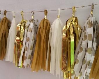 New Year's Eve Gold 20 Tassel Tissue Paper Garland, Gold Party Decorations, Tissue Tassels, Wedding Decorations, New Years Eve Decorations