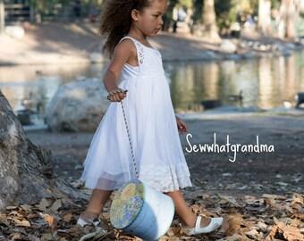 4T-5T, White Tulle Baptism Girl Dress, Boho Flower Girl Lace Dress, Beach Girl Wedding Dress, Crochet Lace Tank Flower Girl