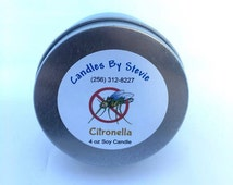 Citronella Soy Candle - 4 oz Tin - Bug Be Gone Candle - Don't Bug Me - Mosquito Repellent Candle - No Bugs On Me - Citronella - Outdoors