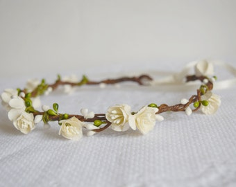 Bridal Flower Crown, rustic flower crown, bridal hair accessories, wedding hair accessories, flower circlet, floral crown, - GUINEVERE -