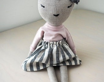 Cat doll, linen doll, unique gift/ Koko