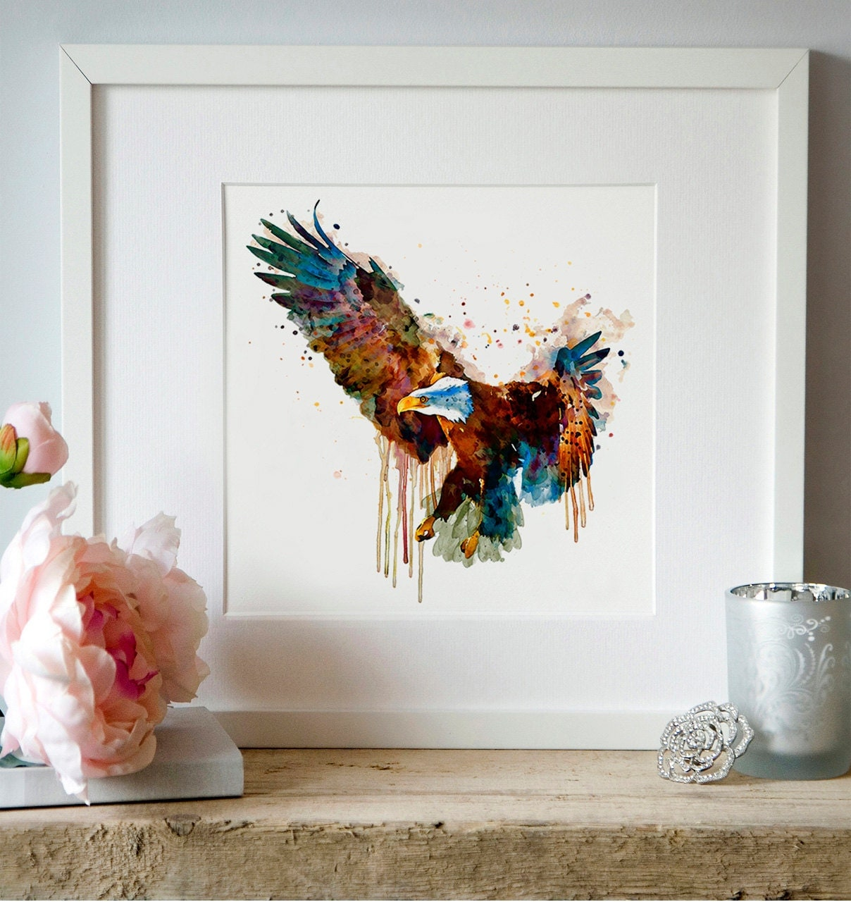 Wall Art Mirror Birds : Eagle watercolor painting birds of prey wall art decor