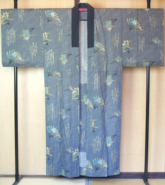Vintage mens Nagajuban, Japanese Kimono, Vintage kimono undergarment, kimono robe, mens kimono item, kitsuke grey nagajuban, samurai