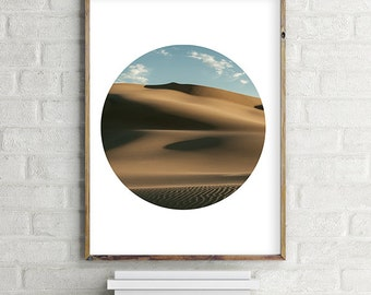 Desert Dunes and Clouds Printable Photo Wall Art, Modern contemporary poster download (8x10 and various sizes) Gallery Wall Print