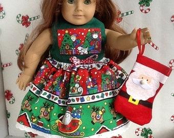 Christmas American Girl 18 inch Doll Dress Reindeer Print with Matching  Hair Bow and Bonus Christmas Stocking  ~FREE SHIPPING~