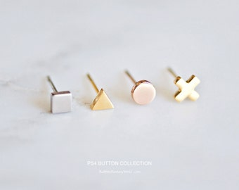 Geometric Stud Earring Set, Minimalist Earrings, Rose Gold, Gift For Her, Tiny, Minimal, Surgical Steel, Titanium Earrings, PS4