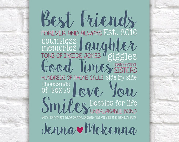 Featured listing image: Best Friend Gift, Custom Gift for Home Decor, Names, Personalized, Birthday Gift, Friends, Funny, Sister, BFF, Unique Gift, Bold | WF418