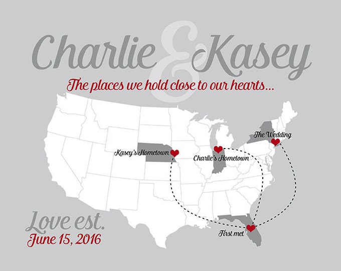 Personalized Wedding Gift, Map of Locations Special to Couple - First Anniversary Gift for Husband or Wife, Map Gifts, Wanderlust Travel