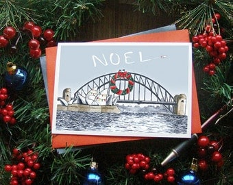Harbour Holiday christmas card; Sydney Opera House and bridge; Australian greeting card