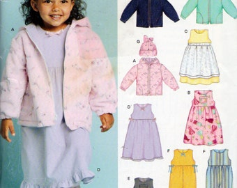 New Look 6419, Little Girls Fleece Jackets , Fleece Hats, Dresses, Coveralls, Sewing Pattern, Sizes 6 Months to 4 Years Uncut