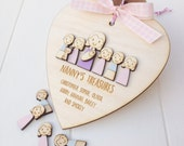 Personalised Nanny and grandchildren or Mummy and children keepsake heart