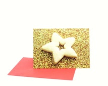 Merry Christmas Gold Glitter Festive Scottish Shortbread Star Cookie Baking Blank Happy Holidays Greeting Card