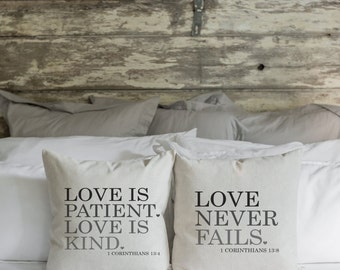 Love is Patient.Love is Kind. Love Never Fails  20 x 20 Pillow Cover SET//Everyday//Wedding//Anniversary//Cushion Cover//Gift for them
