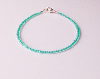 Turquoise bracelet, aqua bracelet, seed bead jewelry, seed bead bracelet, beaded bracelet, silver bracelet, minimalist,,beaded bracelet