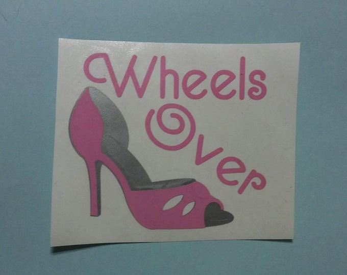 Wheels Over Heels Two Color Layered Vinyl Decal