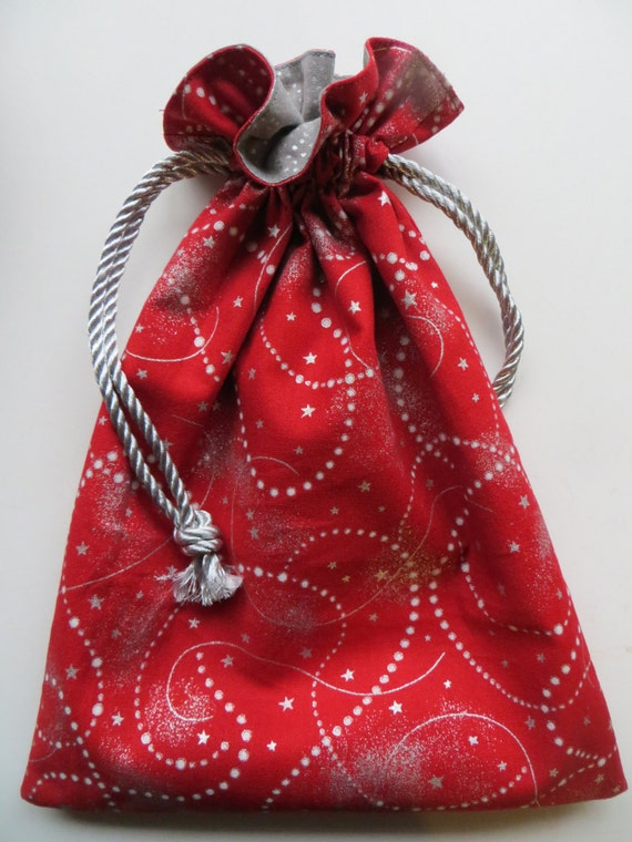 Lined drawstring fabric holiday gift bag red metallic