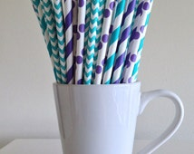 Teal and Purple Paper Straws Aqua and Purple Striped, Chevron, Polka Dot Party Supplies Mermaid Party Decor Bar Cart Accessories Graduation