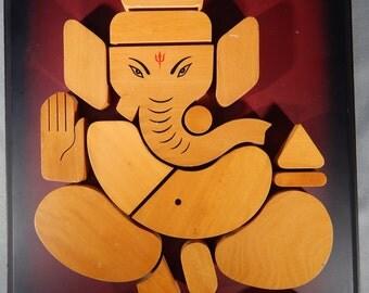 Dimensional Wood Ganesh Wall Plaque, India, Wood Panel, Wall Hanging, Hinduism