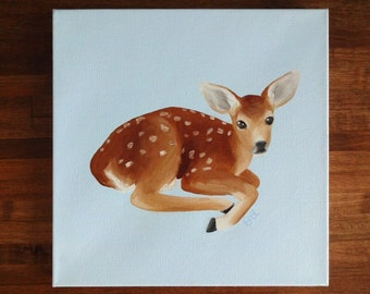 Woodland Nursery Fawn Painting Original Art Oil Painting of Fawn Small Art Bambi Room Decor Nursery Wall Art Woodland Animals Baby Deer Art